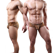 Buy New Sexy Men Leopard U Pouch Low Rise Waist G-Strings Breathable Thongs Underwear Penis Pouch Gay Lingerie Gay Wear FX1007