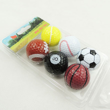 Free Shipping Wholesales 6pcs Soccer Golf Sports ball With Multi Color Two Layer Golf Driving Range Ball