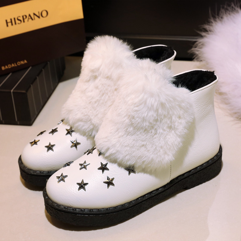 Fahion Winter Australia Fur Snow Boots Stars Rivets Flats Ankle Boot For Women Black Gary Pink Casual Platform Shoes Big Size<br>
