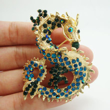 "2.36"" Classical Vintage Dragon Art Nouveau Brooch Pin Blue Rhinestone Crystal(China)"