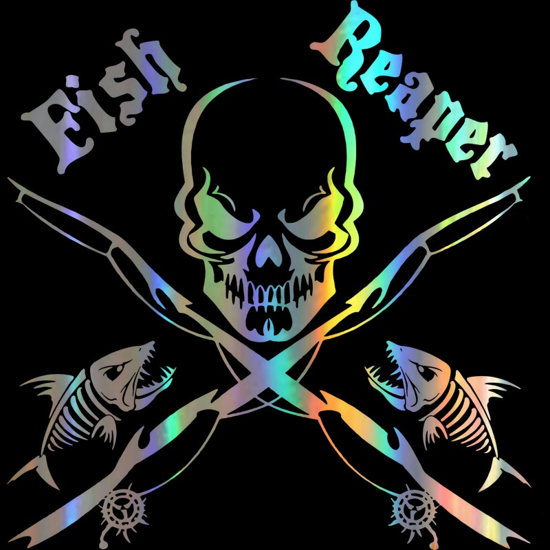 25.4*14cm Reflective Decals Fishing Skull Skeleton Fish Rod Reel Car Sticker
