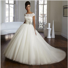 Scoop Neckline vestido de noiva bride Wedding Reception Dress Supplier Wide Pleated Belt Beaded Brooch Sleeves
