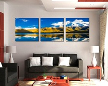3 Panel Wall Art Canvas Painting Blue Art Clouds In The Sky Lake Wall Pictures For Living Room Unframed Large HD Modular Picture