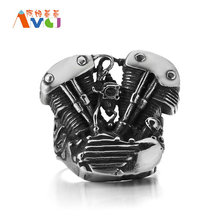 AMGJek 26mm Motor Engine Ring Personality Titanium Steel High Quality Mechanical Storm Biker Rings For Men Brand Jewelry F069(China)
