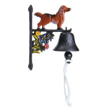NEW Vintage Style Rusted Dog Cast Iron Door Bell Wall Mounted Garden Decoration Access Control(China)