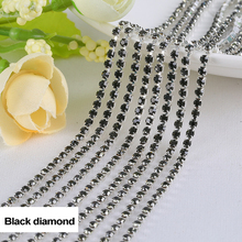 Rhinestones chain Black diamond 3Yards/lot SS6/SS8/SS10/SS12 Silver claw  fou Garment free shipping
