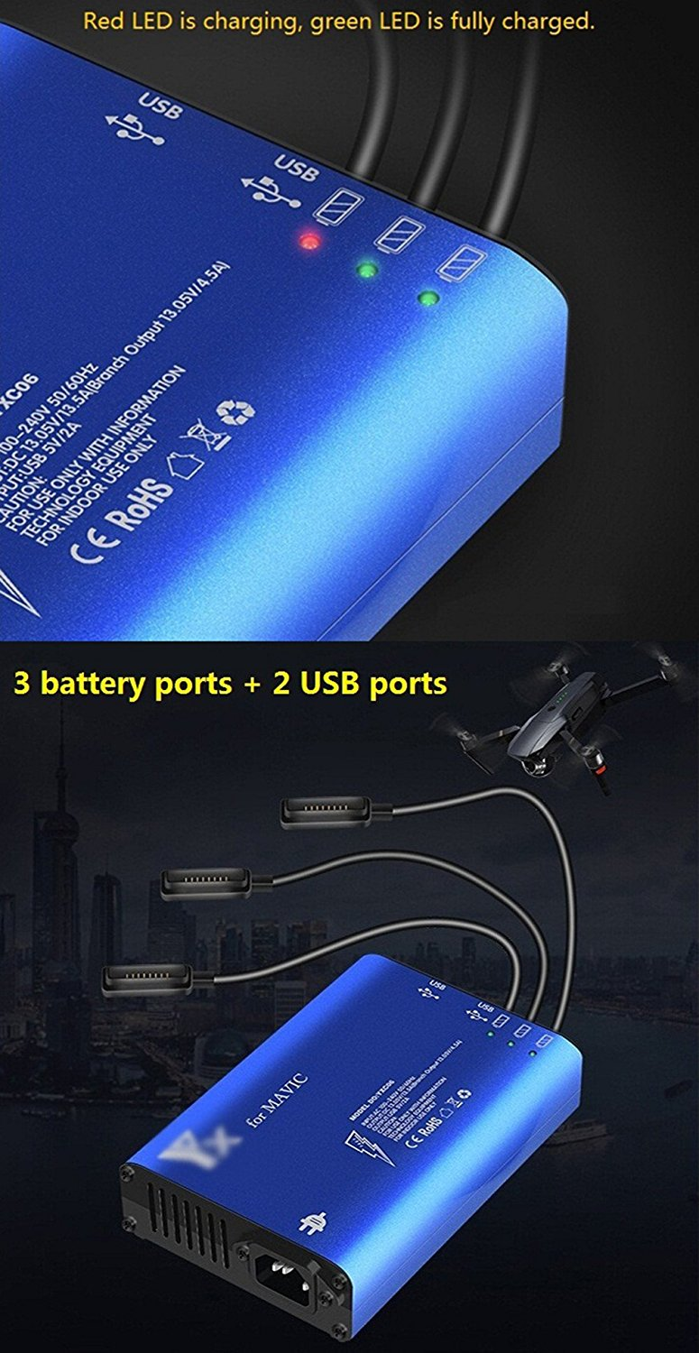 Sunnylife 5 in 1 Smart Battery Charger Butler Nanny Parallel Charger Remote Controller Charging USB Smartphone Charger DJI Mavic