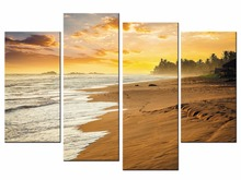 Hot Sales Framed 4 Panels Picture Beach sea view series HD Canvas Print Painting Artwork Wall Art Wholesale/J019-088-XJ(China)
