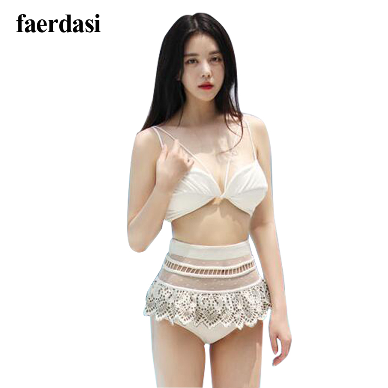 2017 New Arrivals Women Sweet Bikinis White Hallow Mesh High Waist Lace Sexy Lady Padded Biquini Push Up Swimsuit Two-piece Set<br><br>Aliexpress