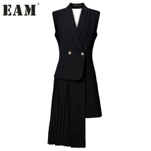 [EAM] 2017 new Summer Autumn solid color black sleeveless Asymmetric suit V-collar vest women fashion tide J47801S