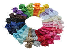 100PCS/LOT 2016 New children accessories Lace bow headband knitted elastic baby girl headbands korean hair accessories 22 color(China)