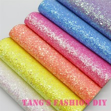 6pcs--20x22cm LIGHT FLUO color CHUNKY glitter LEATHER/Synthetic leather can choose color(China)