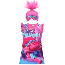 2017 new  troll Wig +dresses set Children Costumes For Girls Carnival Kids Costumes Summer Girl Dress Trolls Clothes Poppy Party