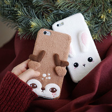 3D Cute Animal Rabbit Felt Soft Silicon TPU Case For iPhone 6 6s Plus 7 Plus For iPhone 8 Plus Full Cover Plush Felt Cases Phone(China)