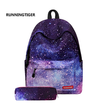 Women Backpack High Quality Stars Universe Space Backpack Set space With Pencil case Bag For female Mochilas Feminina schoolbags(China)