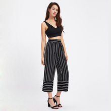 Buy New Fashion Women Pant Casual Ladies Wide Leg Pants Loose Stripe Pants Female Cotton Blend High Waist Pants Sexy Womens Clothes for $5.67 in AliExpress store
