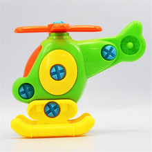 NEW Unique Funny Newborn DIY Baby Early Learning Puzzle Educational Toys Airplane Kids Detachable Model Toy Assembly Aircraft(China)