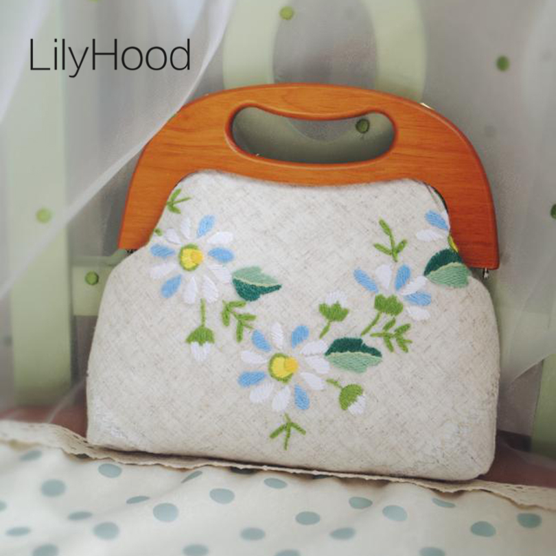 Handmade 2017 Female Floral Embroidery Handle Bag Burlap Linen Victorian Retro Shabby Chic Inspired Stylish Summer Shoulder Bag<br>
