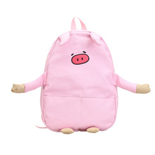 2017 New Kawaii Embroidery Pink Pig Printing Backpack Canvas Lolita School Bags for Girls Funny Mochila Infantil Cute Schoolbag(China)