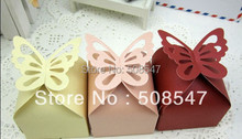 cute 100pcs Ivory light yellow Hollow butterfly Wedding Favor Boxes gift box candy box baby shwoer sweet love(China)