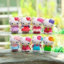 8pcs/lot Mini colorful Ladies hello kitty action figures model toys decoration micro landscape dolls gifts for children(China)