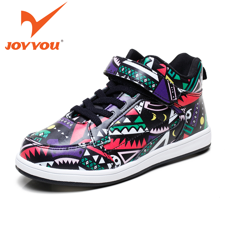 JOYYOU Brand 2016 Kids Shoes Fashion Graffiti Boys Girls Flats Shoes Children Leather Boots Casual Shoes Tenis Winter Flat Boots<br><br>Aliexpress