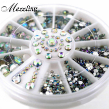 Mix Sizes Crystal AB Glitter Rhinestone 3D Acrylic Nail Art Tips Decoration Wheel Set DIY Nail Accessories