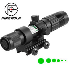 FIRE WOLF Tactical Green Laser Sight Adjustable Green Laser Designator Flashlight Illuminator Hunting Laser Sight With 21mm Rail