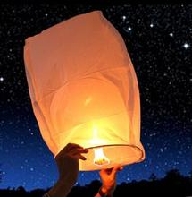 White Paper Chinese Lanterns Fire Sky Fly Candle Lamp for Birthday Wish Party Wedding Decoration Flying Paper Sky Lanterns(China)
