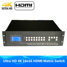 ProAV Premium Quality DHL Free Shipping HDMI Matrix 16x16 RS232 & IR Romote Control HDMI Matrix Switcher Ultra 4Kx2K HD 1080P 3D(China)