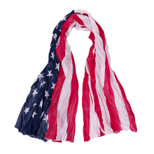 2017 New Fashion Design Women Silk Summer Shawl Scarf The American Flag Star Female Long Chiffon Scarf 140*90cm(China)