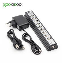 GOOJODOQ 10 Ports USB 2.0 Hubs with AC Power Computer Peripherals Supply Adapter For Portablefor PC Laptop Notebook(China)