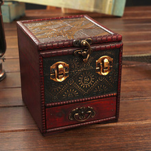Cheap shipping European retro antique box creativity jewelry box multi-drawer dressing box treasure chest with mirror(China)