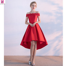 2017 MGS New Designed Boat Neck Satin Sexy Backless Red Short Evening Dress With Lace High/Low Bride Banquet Robe De Soiree