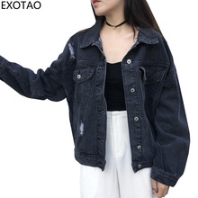 EXOTAO 2017 Winter Black Jeans Jackets for Women Long Sleeve Turn down Collar Coats Female Casual Ripped Casacos New Chaquetas(China)