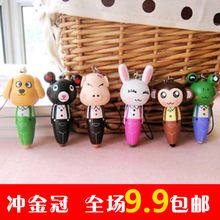 Cute   wooden cartoon animal portable pen short pen ballpoint pen mobile phone chain  kids gift 10 pcs