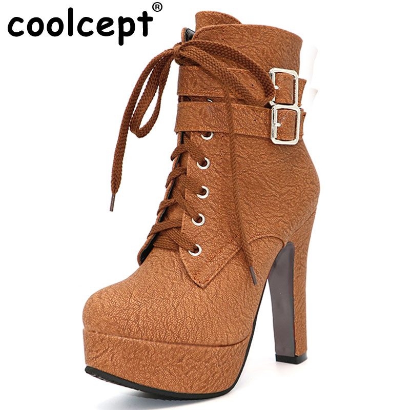 Coolcept Fashion Women Boots High Heels Ankle Boots Platform Shoes Brand Women Shoes Autumn Winter Botas Mujer Size 30-48<br>