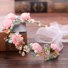 Handmade Bridal Hair Accessories Flower Halo Summer Wedding Floral Hairpiece Bride hair jewelry  tiaras and crowns