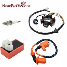 Magneto Stator Racing Ignition Coil 6 Pins AC CDI Box Spark Plug for Chinese GY6 49cc 50cc Engine Moped Scooter *