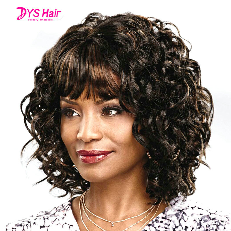Hot Sale Short Perruque Wig Afro Kinky Curly Synthetic Wigs for Black Women Curly Brown Wig Hair With Bangs Free Shipping<br><br>Aliexpress