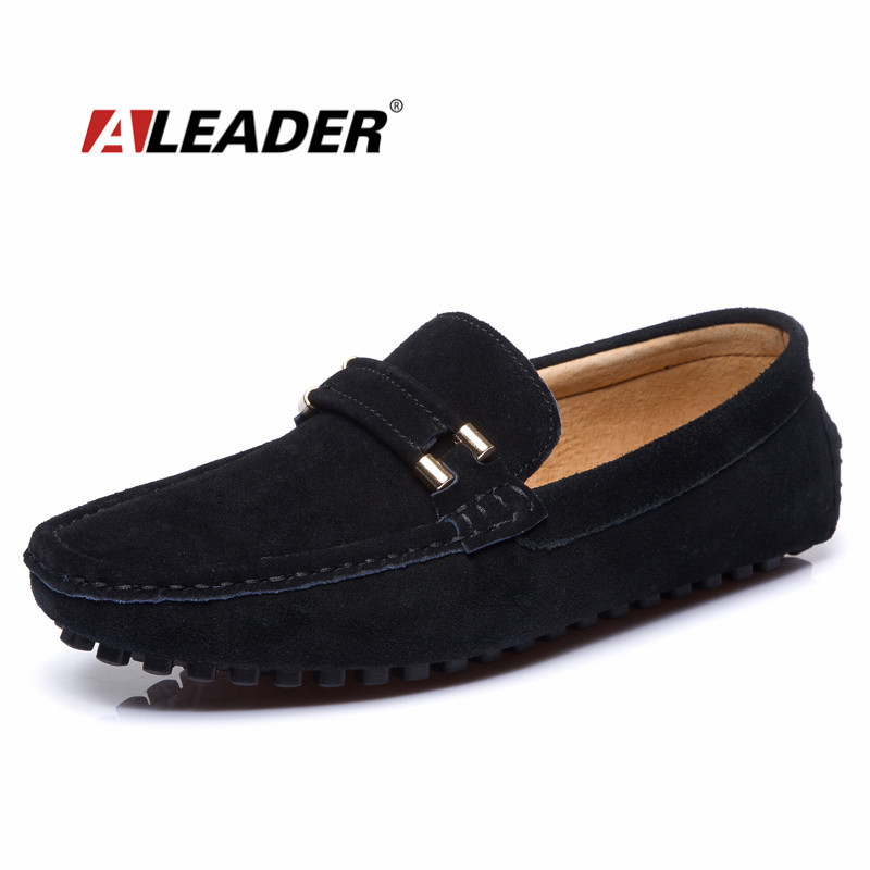 Casual Leather Mens Flats Shoes Summer/Autumn Suede Leather Loafers for Man Comfort Moccasins Fashion Mens Driving Shoes<br>