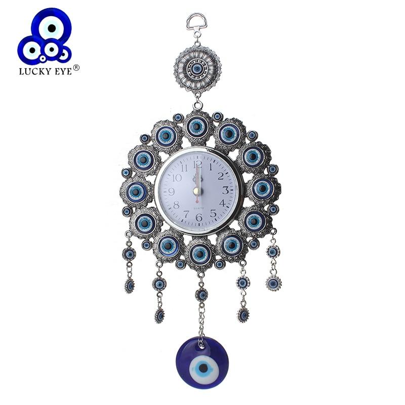 Turkish Nazar Glass Evil Eye Wall Clock Hanging Charm /&Home Decor 6.5cm 23cm