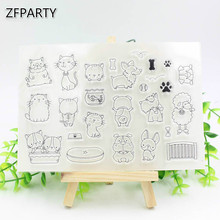 ZFPARTY Dog and Cat Transparent Clear Silicone Stamps for DIY Scrapbooking/Card Making/Kids Fun Decoration Supplies