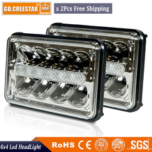 Pair of 4x6 led headlight 45W Rectangle Headlights H4 Headlamp 12V High Low Sealed Beam Replace H6545 H4651 H4652 H4656 H4666