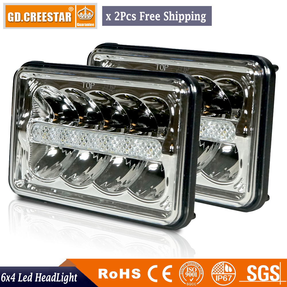 Pair of 4x6 led headlight 45W Rectangle Headlights H4 Headlamp 12V High Low Sealed Beam Replace H6545 H4651 H4652 H4656 H4666 <br>