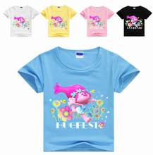 Z&Y 3-16Years News 2017 Summer Trolls Fashion Clothes T-shirts for Girls Tees Jersey Kids Teen Clothes Teenage Boys Clothing Top(China)