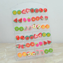 Wholesale Fashion Cute Young Polymer clay Stud Earrings Glue needle Not allergic fruit style Free  E421