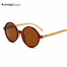 LongKeeper Brand Design Wood Arms Sunglasses Real Wooden Sun Glasses With Round Frame Sunglasses With Logo Eyewares AKLP1527(China)