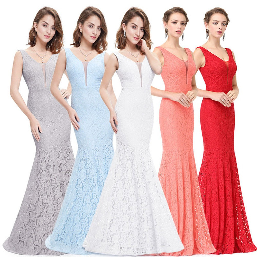 Blue Mermaid Prom Dresses Ever Pretty 2019 Cheap Fashion Sexy Lace Mermaid V-Neck Elegant Long Dresses Hot Sale 2019 Party Gowns