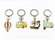1PC Cute Cartoon Camera Bus Fire Ballon Electrocar Key Chains Fashion Jewelry Keyring Vintage Bronze Gift for Women Keychain(China)